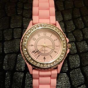 Pink Silicone Watch w/ Rhinestones